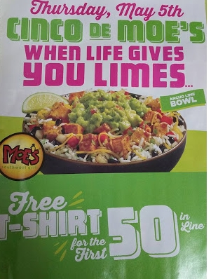 Moe's Southwest Grill – Free Cinco de Moe's T-Shirt May 5th Only