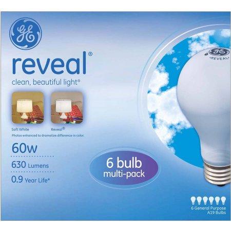 Walmart – GE Reveal Incandescent 60W A19 Light Bulbs, 12 pk of 6 bulbs (72 Bulbs total) Only $45.48 (Reg $169.00) + Free Shipping