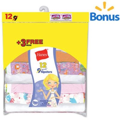 Walmart – Hanes Girl's Cotton Hipster 9 Pack + 3 Free Only $5.00 (Reg $9.48) + Free Store Pickup