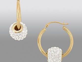 Sears – Swarovski 14K Yellow Gold Crystallized 20mm Slider Ball Hoop Earrings Only $89.00 (599.99) + Free Shipping!