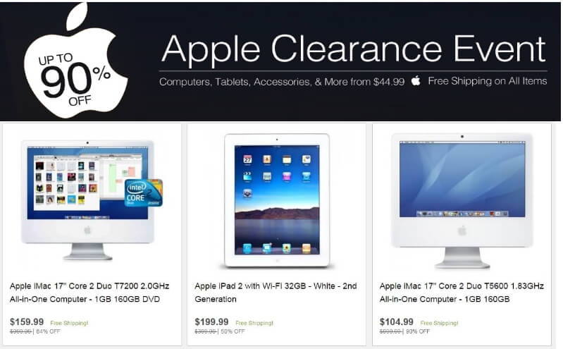 GearXS.Com – Apple Computers, Tablets, Accessories, & More Clearance! Up to 90% Off! Apple iMac $105.00, Apple iPad $200.00
