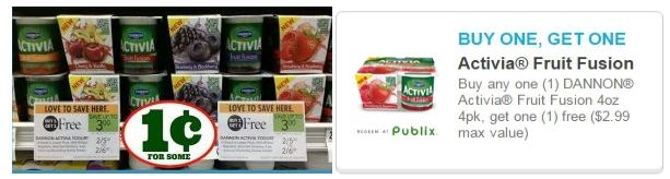 Publix – DANNON Activia Yogurt Just 1¢ For TWO 4 Packs With BOGO FREE Printable Coupon – Print It NOW!