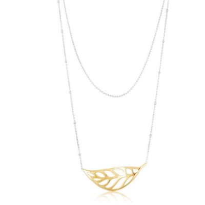 Walmart – Women's Sterling Silver Two-Tone Necklace with Rhodium Two-Layered Chains and Gold Cubic Zirconia Leaf Only $22.00 (Reg $115.00) + Free Store Pickup