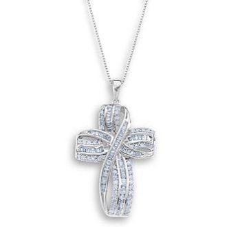 Sears – 1 Cttw. Diamond Sterling Silver Twist Cross Pendant Only $42.49 (Reg $849.99) + Free Shipping