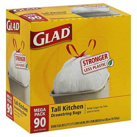 Kmart – Glad Kitchen Bags, Tall, Drawstring, 13 Gallon, Mega Pack, 90 bags Only $12.99 (Reg $14.99) + Free Store Pickup