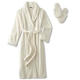 Sears – Covington Women's Embossed Long Robe & Slippers – Cable Knit Only $24.00 (Reg $48.00) + Free Store Pickup