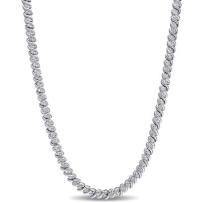 Walmart – Miabella 1 Carat T.W. Diamond Sterling Silver Tennis Necklace, 17″ Only $369.00 (Reg $599.00) + Free 2-Day Shipping