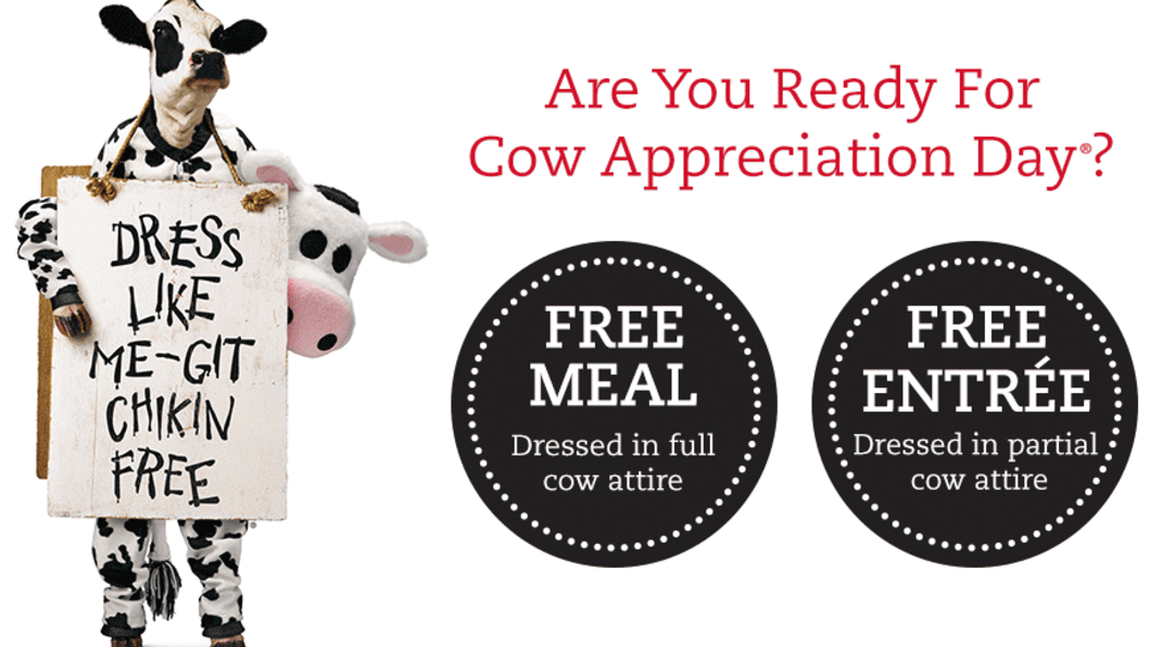 Chick-fil-A * Dress Up Like Cows And Receive Free Food
