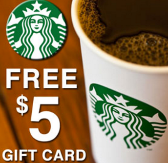 Starbucks – Free $5.00 Gift Card For Everyone