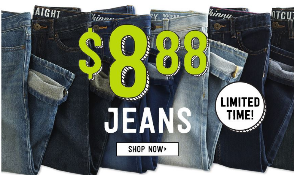 Crazy8.com – Boys and Girls Jeans Only $8.88 + Free Shipping On ALL ORDERS!