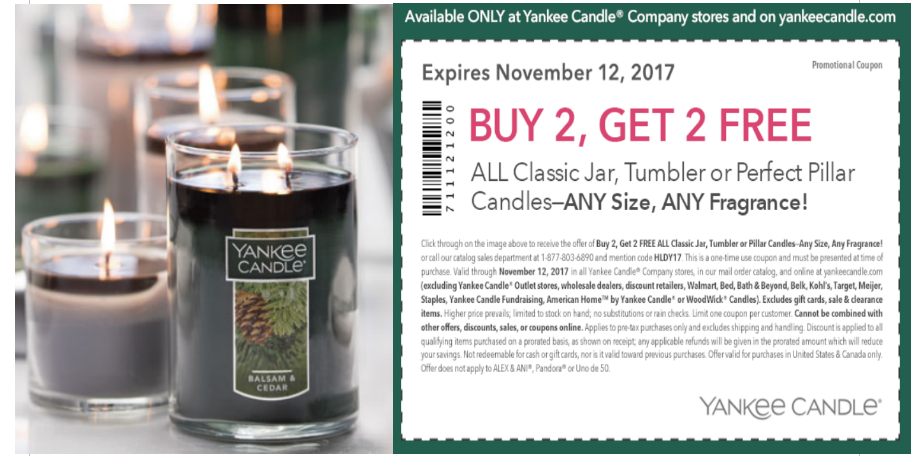 graphic about Yankee Candle Printable Coupons known as Yankee Candle Printable Coupon - Obtain 2, Buy 2 Free of charge All