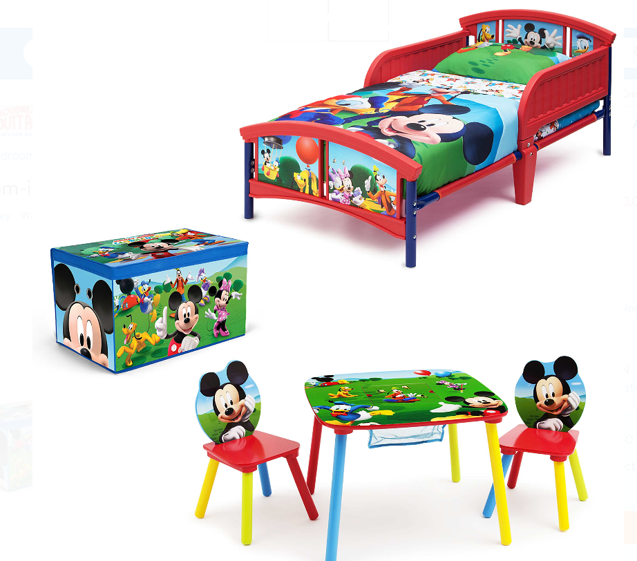 Disney Mickey Mouse Toddler Bed, Fabric Toy Box With Table and Chair Set Only $60.00 (Reg $120) + Free Shipping!