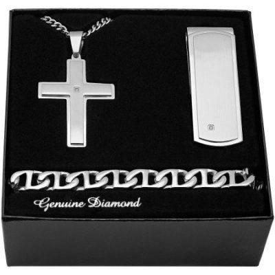 Walmart – Men's Stainless Steel Diamond Accent Cross Pendant, Money Clip, Bracelet – Mens Gift Box Set Only $21.99 (Reg $90.00) + Free Store Pickup