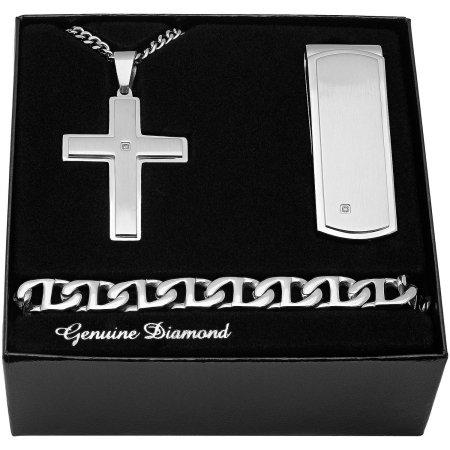 Jewelry Gift Boxes Walmart Delectable Walmart Men's Stainless Steel Diamond Accent Cross Pendant Money