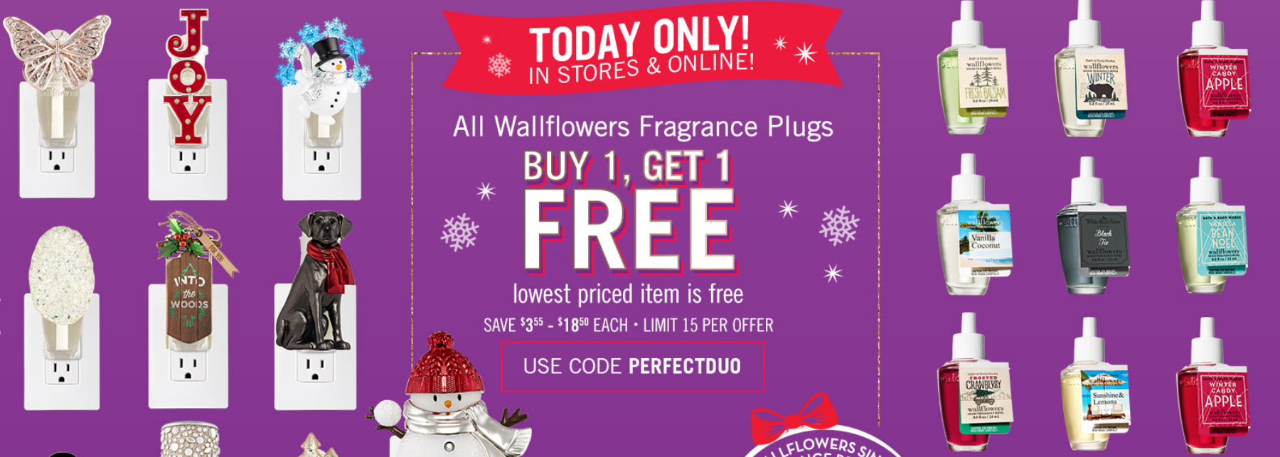 Bath & Body Works – Wallflowers Fragrance Plugs BOGO FREE AND $2.95 Wallflower Fragrance Refills (Online & In Store)