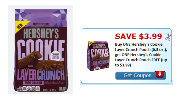 BOGO FREE Hersheys Cookie Layer Crunch Pouch (6.3 oz.) Printable Coupon = 74¢ Each At Walmart