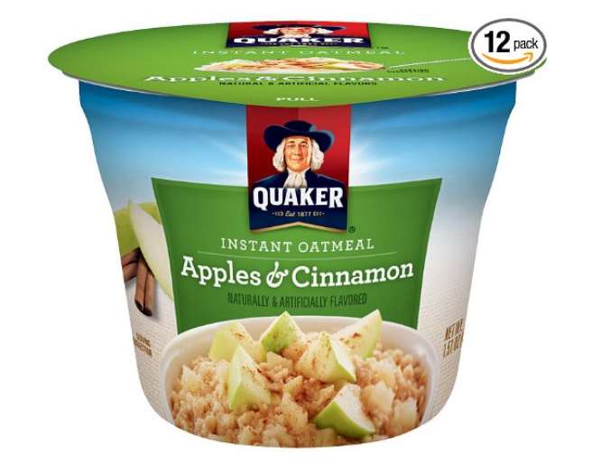 Amazon – Get 12 Quaker Instant Oatmeal Express Cups, Apples & Cinnamon For Only $5.29 (Reg $11.29)