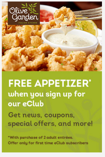 Olive Garden Breadsticks, Salad or Soup AND Entree For Only $5.94 ...