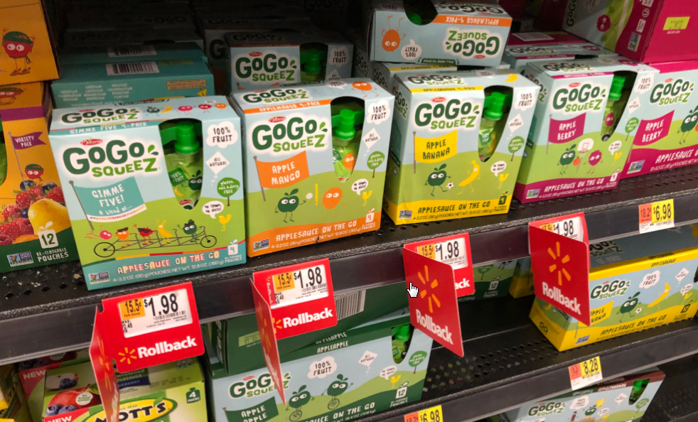 Walmart – GoGo Squeez Applesauce 4-Packs Only 98¢ With Printable Coupons – Print them Now!