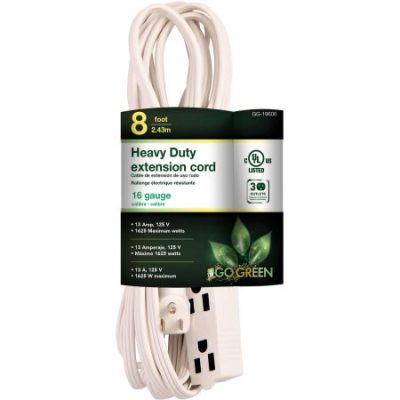 Walmart – GoGreen Power 16/3 8′ 3-Outlet Extension Cord – White Only $5.69 (Reg $7.10) + Free Store Pickup