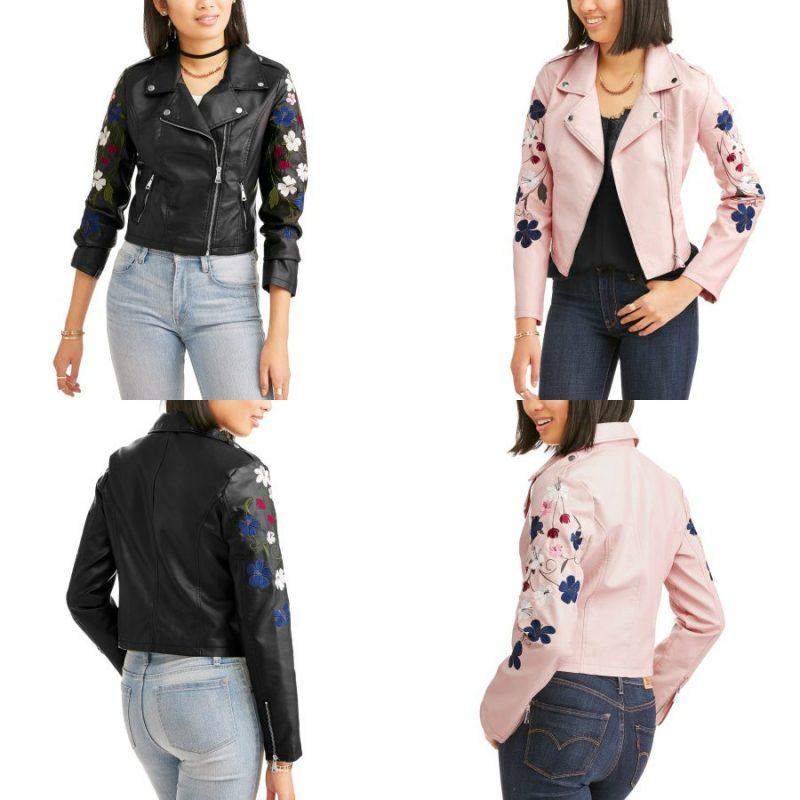 Walmart – Urban Retro Juniors' Embroidered Sleeve Zip Moto Jacket Only $15.00 (Reg $16.88) + Free Store Pickup