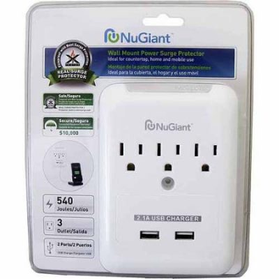 Walmart – NuGiant NSS19 Wall Tap Surge Protector with USB Charger Only $12.39 (Reg $16.74) + Free Store Pickup