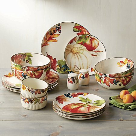 The Better Homes and Gardens Fall Botanical Leaves 16 Piece Dinnerware Set comes with four dinner plates four salad plates four soup bowls 2 ramekins ... & Walmart - Better Homes and Gardens Fall Botanical Leaves 16 Piece ...