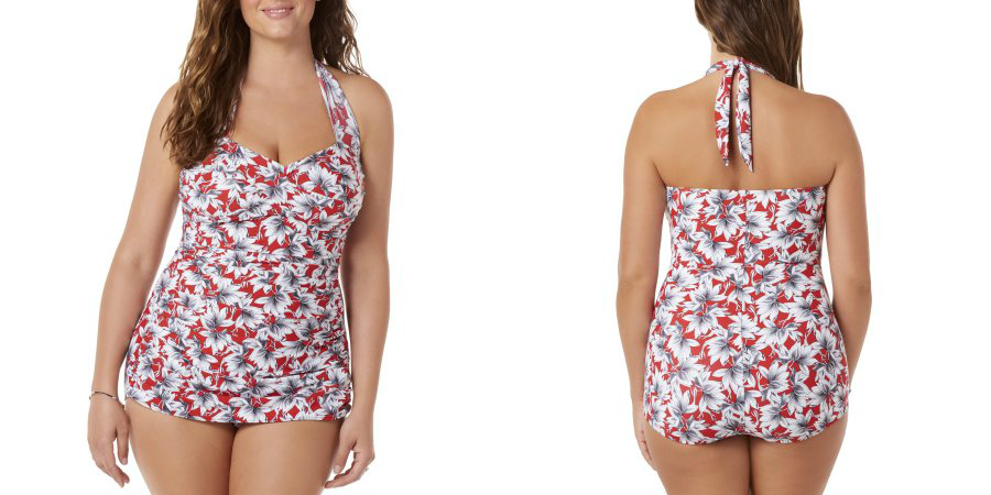 36957ef43b2e9 Glam up this summer with this retro-fabulous one-piece swimsuit from Simply  Slim. Featuring a set of shirring on the sides and a draped front that  provide ...