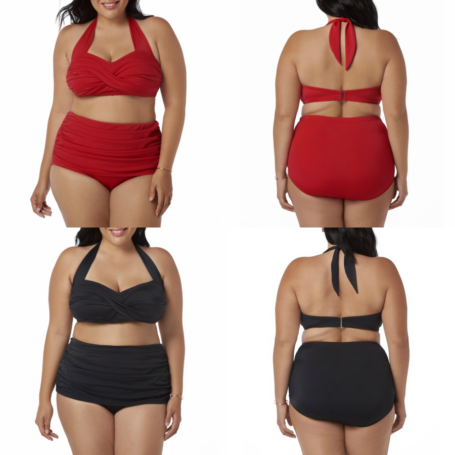 73a98741206e6 Feel and look fabulous in this Suddenly Slim by Catalina Women s Plus-Size Slimming  High-Waisted Bikini 2 Piece Set. Created with a tummy control feature