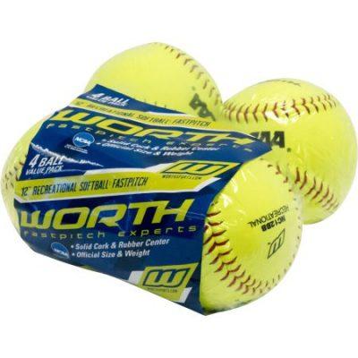 "Walmart – Worth 12"" White Practice Softballs, 4 pk Only $7.99 (Reg $10.74) + Free Store Pickup"