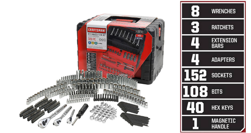 Sears.com – Craftsman 320 Piece Mechanic's Tool Set Only $145.00 (Reg $300.00) + Free Shipping!