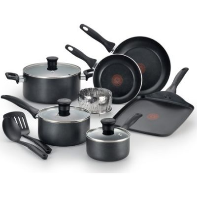 Walmart – T-fal, Easy Care Nonstick 12 Pc. Set, Dishwasher Safe Cookware,Black, B145SA Only $49.97 (Reg $59.97) + Free 2-Day Shipping