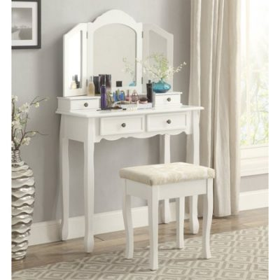 Walmart -Roundhill Furniture Sanlo White Wooden Vanity, Make Up Table and Stool Set Only $122.84 (Reg $154.00) + Free Shipping