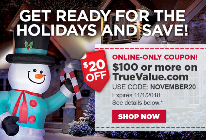 TrueValue.com – TODAY ONLY! Take $20 Off A $100 Purchase w/Code + Free Store Pickup!