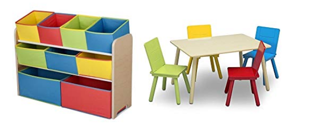 Amazon – Delta Children Deluxe Multi-Bin Toy Organizer & Kids Table and Chair Set Only $45.49 (Reg $110.00) + Free Shipping!
