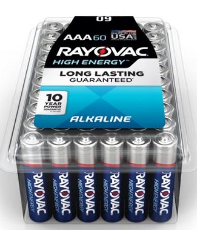 Walmart – Rayovac 60 Count High Energy Alkaline, AAA Batteries Only $12.48, Reg $27.99 + Free Store Pickup!