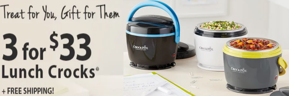 Three (3) Crock-Pot Lunch Crock Food Warmers Only $33 Shipped (Reg $29.99 ea) + Free Shipping!