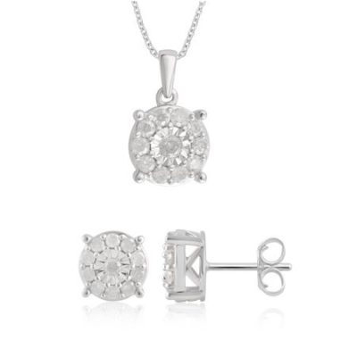Walmart – 1.00 Cttw Diamond Earrings and Pendant 2 Piece Sterling Silver Jewelry Set Only $99.88 (Reg $119.99) + Free Shipping