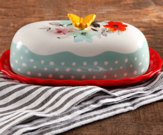 Walmart – The Pioneer Woman Flea Market Decorated Floral 6.4″ Butter Dish Only $4.88, Reg $9.50 + Free Store Pickup!