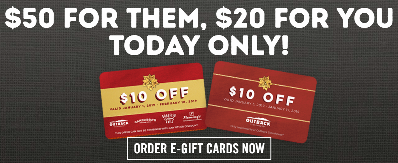 Outback Steakhouse – FREE $20 Bonus Card w/ $50 eGift Card Purchase (Today Only)