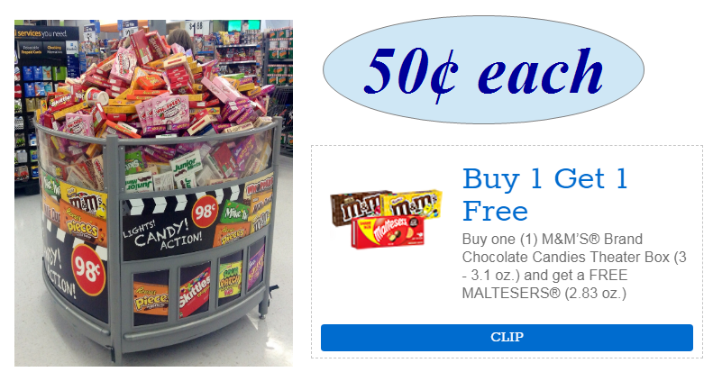 Theater Box Candy Only 50¢ Each After BOGO Free Coupon – PRINT IT NOW!!
