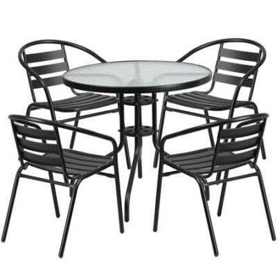 "Walmart – Flash Furniture 31.5"" Round Glass Metal Table with 4 Black Metal Aluminum Slat Stack Chairs Only $134.00 (Reg $169.10) + Free Shipping"