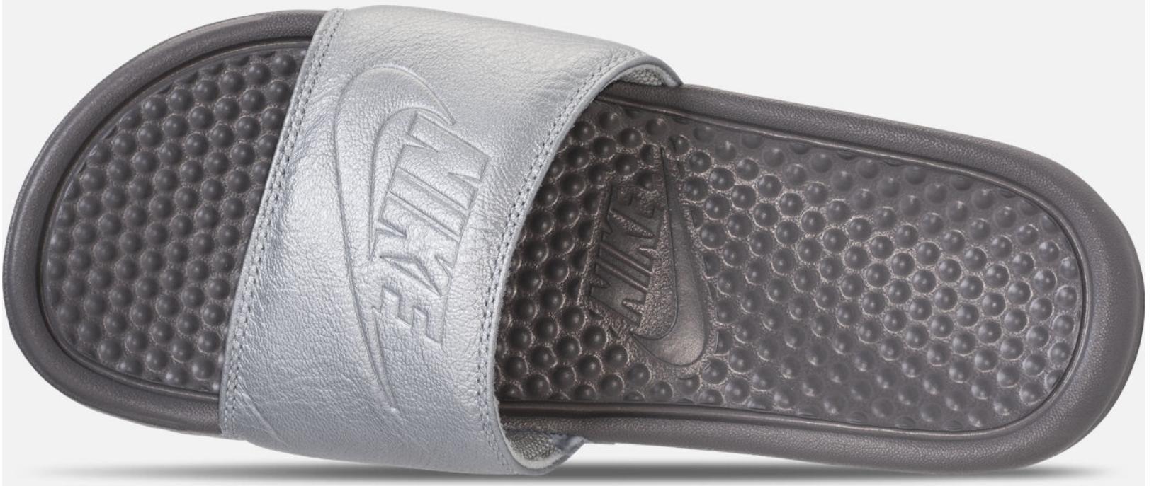 FinishLine.com – Women's Nike Benassi Just Do It Metallic Slide Sandals Only $7.50, Reg $34.99