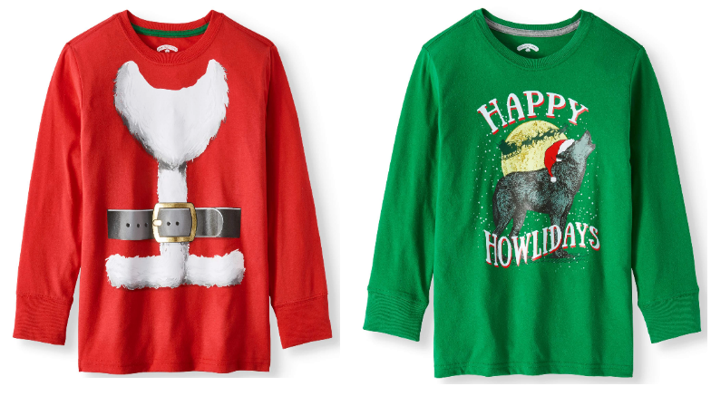 Walmart.com – Boys Long Sleeve Christmas Holiday Graphic T-shirts as low as $3.50 each + Free Store Pickup!