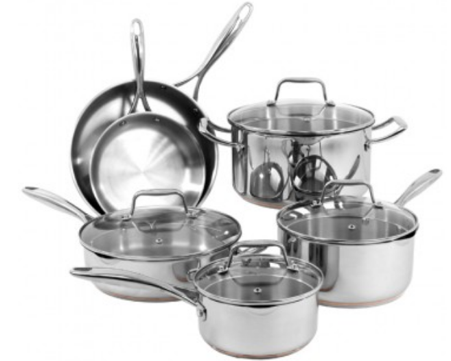 Oneida.com – 40% Off ANY Item = Oneida 10pc Stainless Steel Copper Cookware Set Only $132.00, Reg $350.00 + Free Shipping!