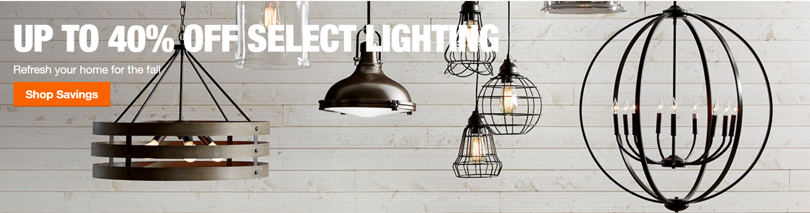 Home Depot – Up To 40% Off Select Lighting