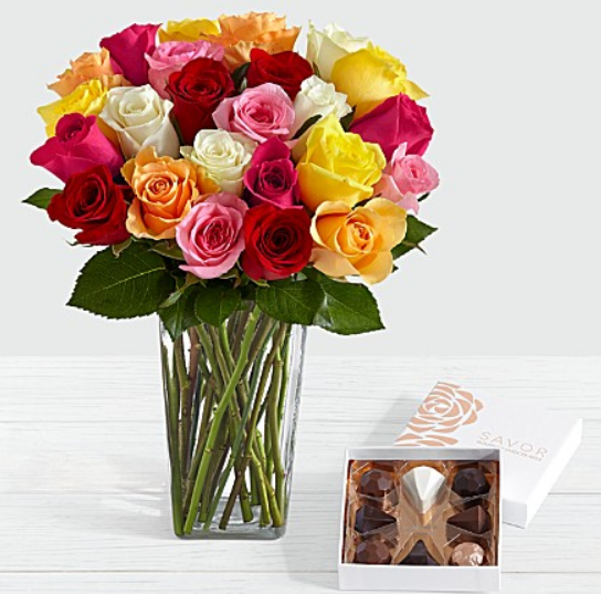 TWO Dozen ProFlowers Roses, Chocolates AND Vase Only $23.97 Delivered! Great Valentine's Day Gift!