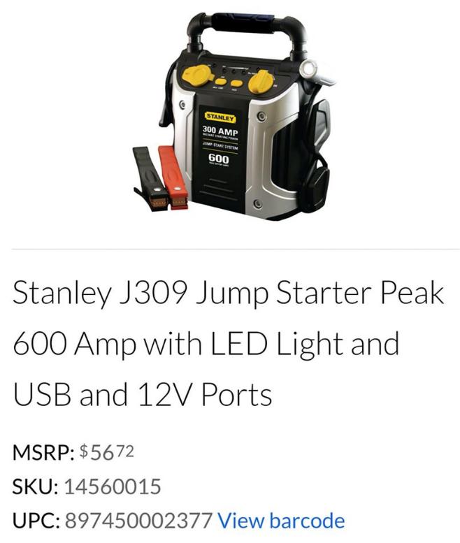 Walmart – Possible Stanley Jump Starter Only $9.00 (Reg $56.72)