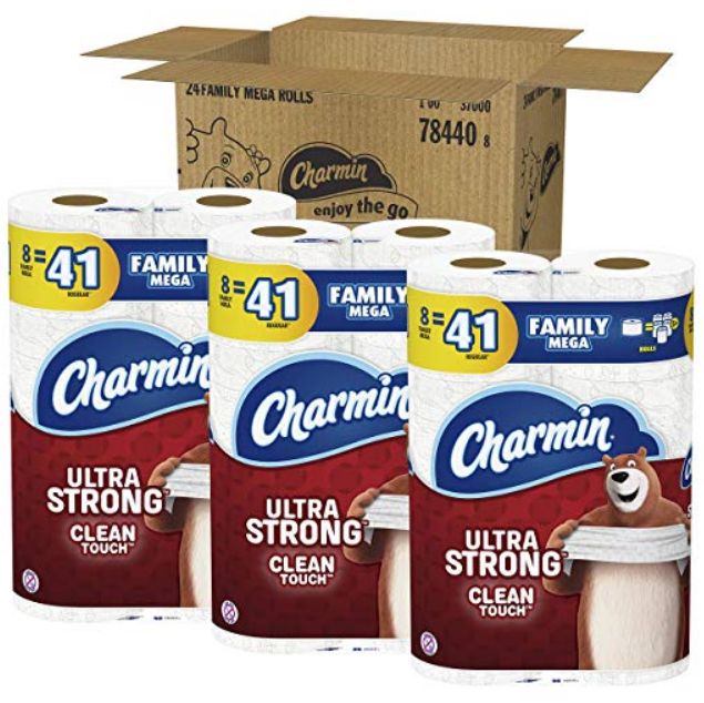 Amazon – 24 Ct Charmin Family Mega Toilet Paper Rolls (Ultra Soft or Ultra Strong) $26.95 w/ S&S + Free S/H