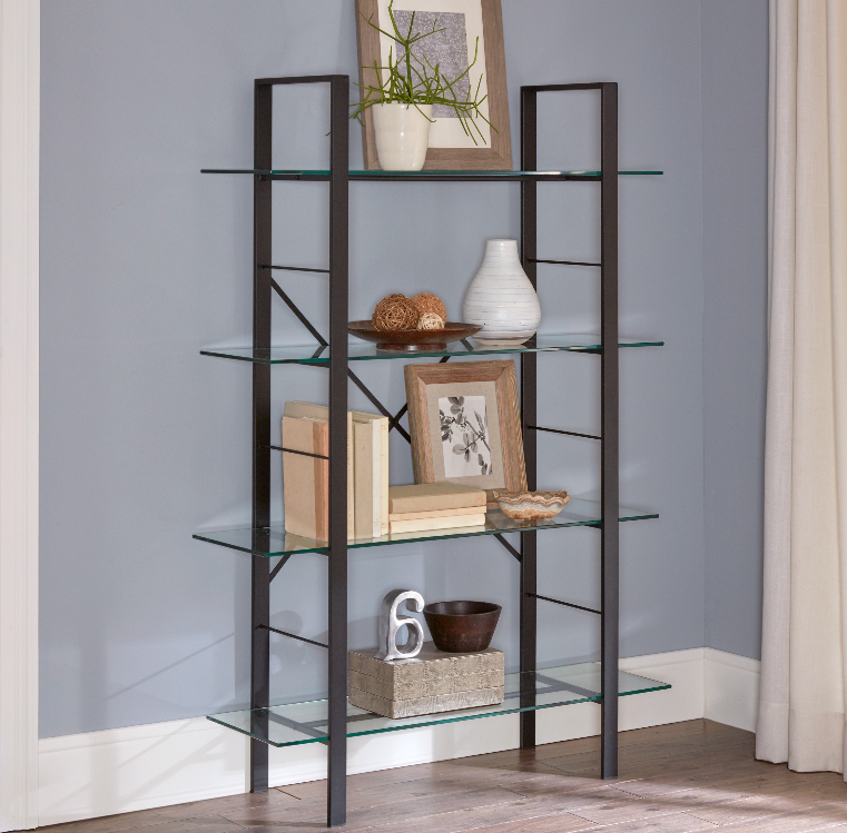 Walmart – Mainstays Tahoe 4-Tier Metal and Glass Storage Bookcase Only $89.97 (Reg $104.99) + Free 2-Day Shipping